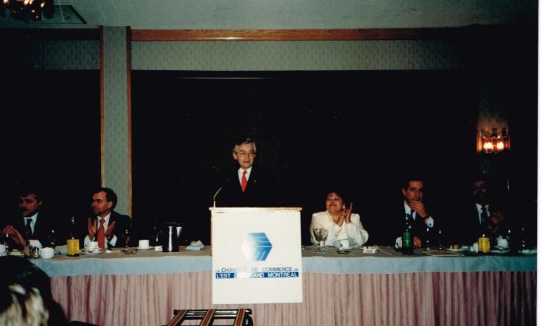 Conférencier à la Chambre de commderce de l'Est de Montréal, 1988